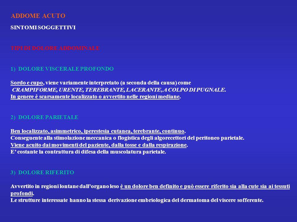 ADDOME ACUTO SINTOMI SOGGETTIVI TIPI DI DOLORE ADDOMINALE