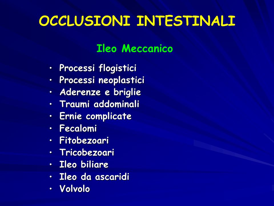 OCCLUSIONI INTESTINALI