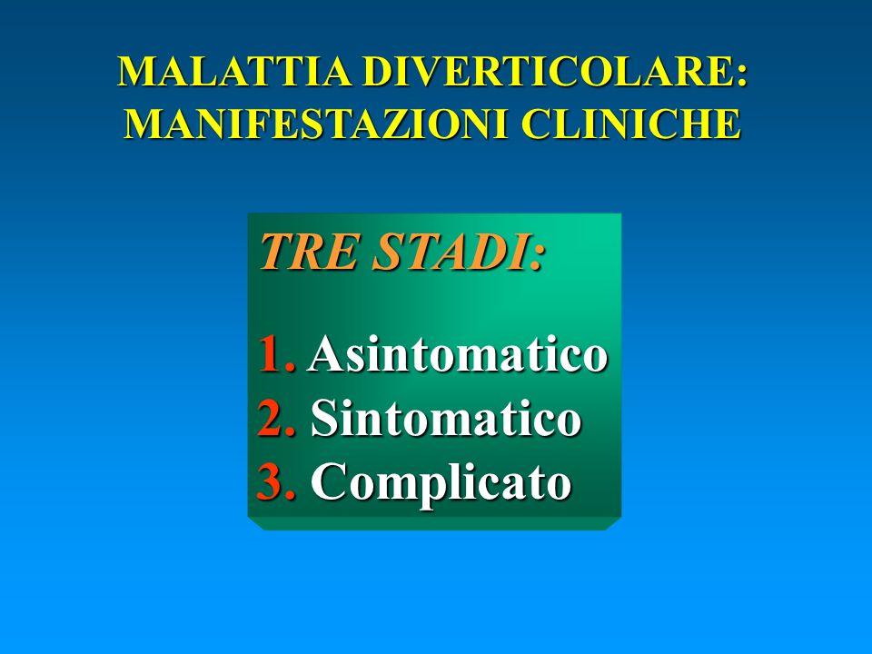 MALATTIA DIVERTICOLARE: MANIFESTAZIONI CLINICHE