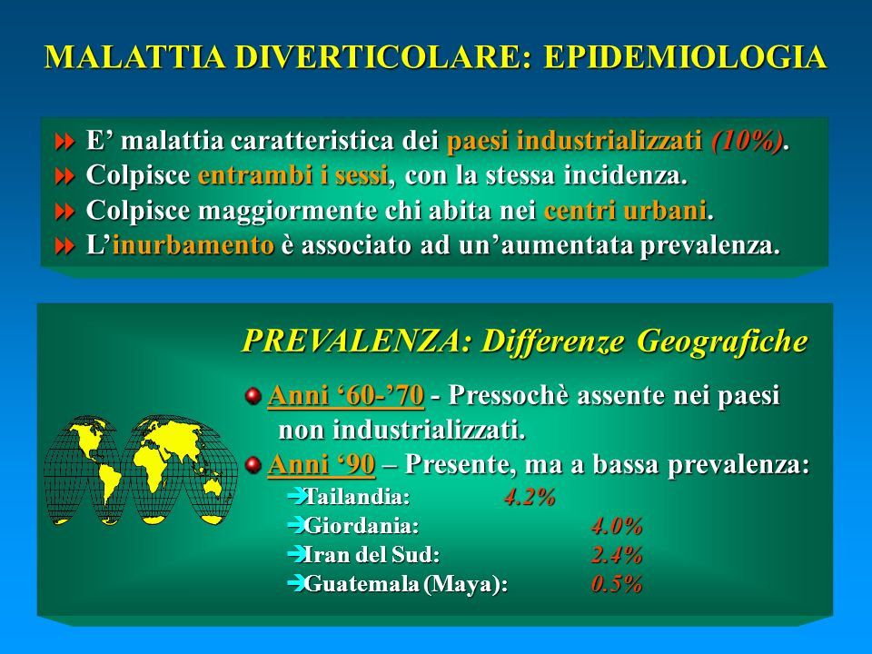 MALATTIA DIVERTICOLARE: EPIDEMIOLOGIA