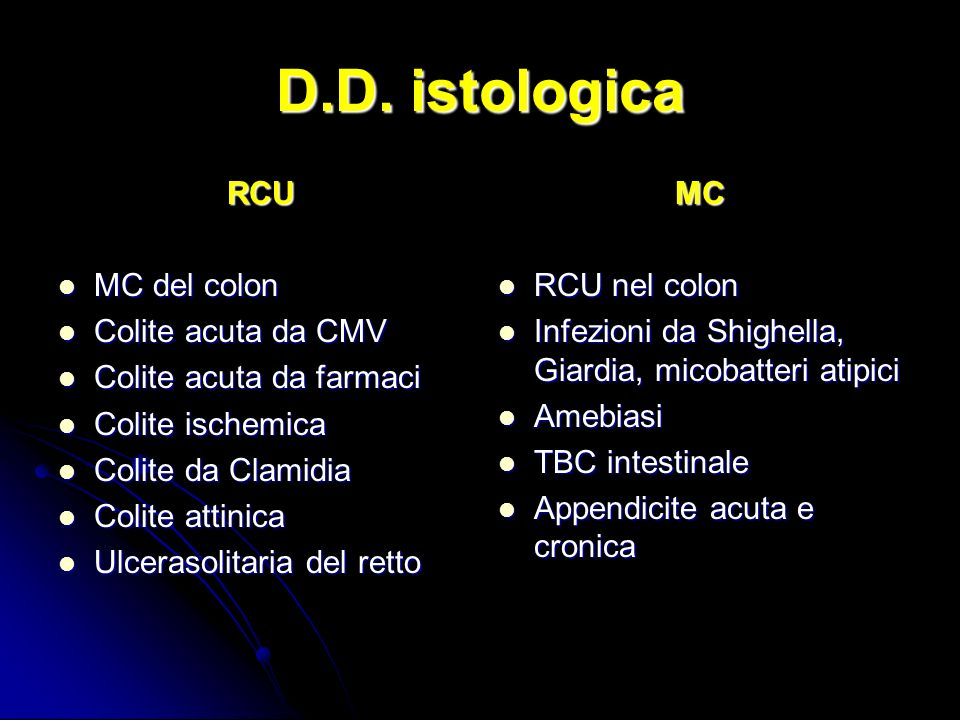 D.D. istologica RCU MC del colon Colite acuta da CMV