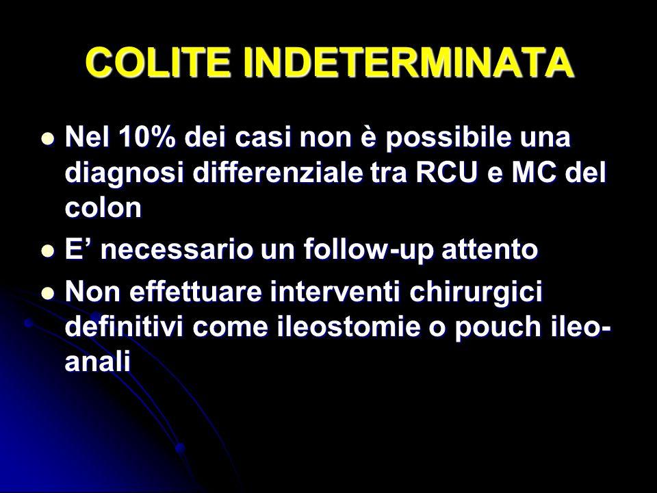 COLITE INDETERMINATA Nel 10% dei casi non è possibile una diagnosi differenziale tra RCU e MC del colon.