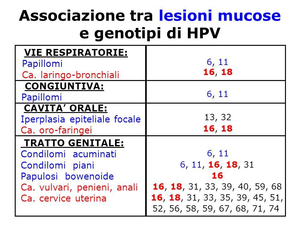 Associazione tra lesioni mucose e genotipi di HPV