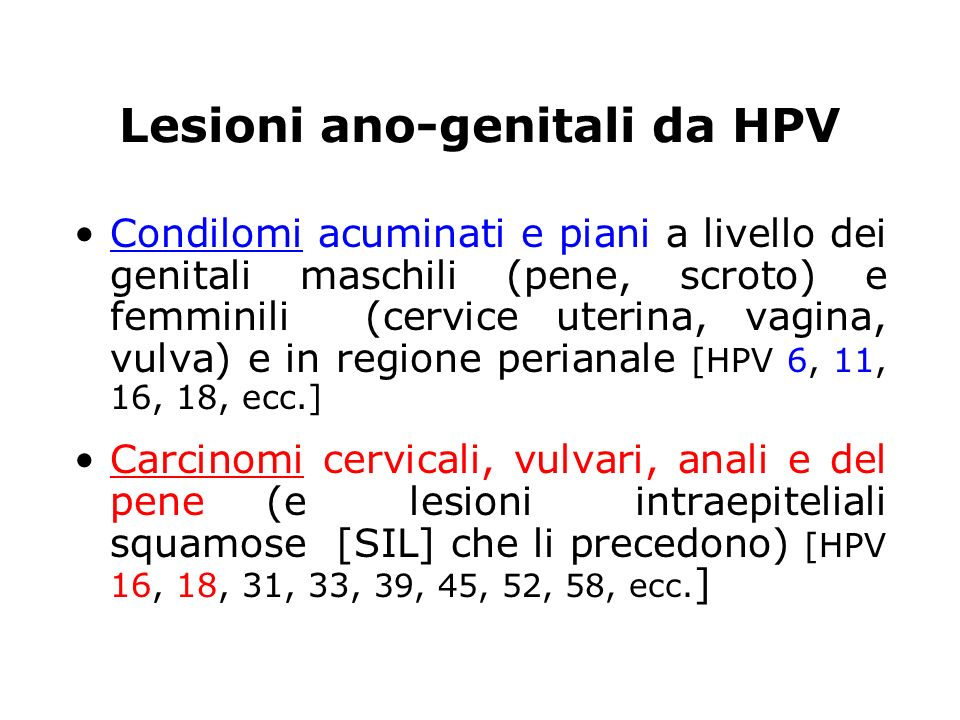 Lesioni ano-genitali da HPV