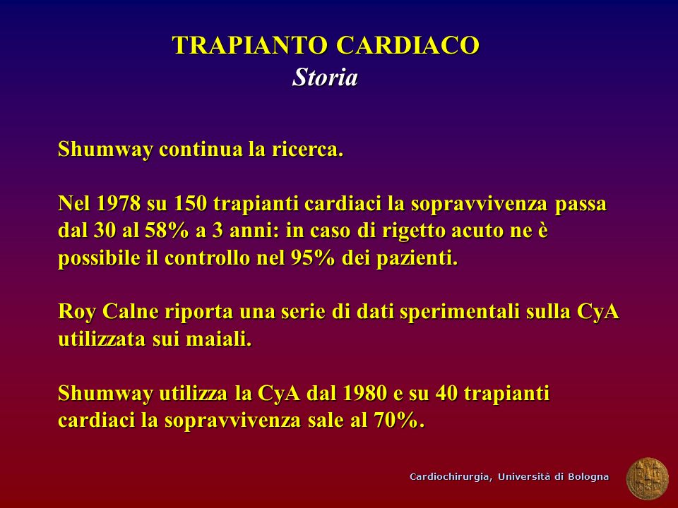 TRAPIANTO CARDIACO Storia