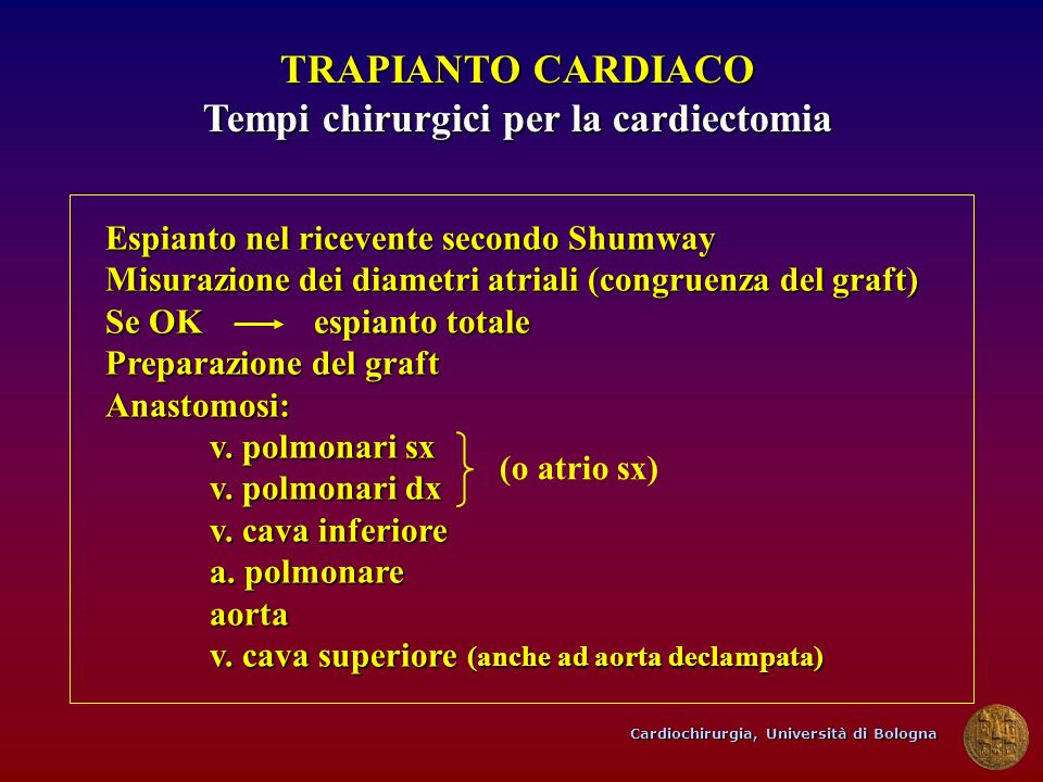 Tempi chirurgici per la cardiectomia