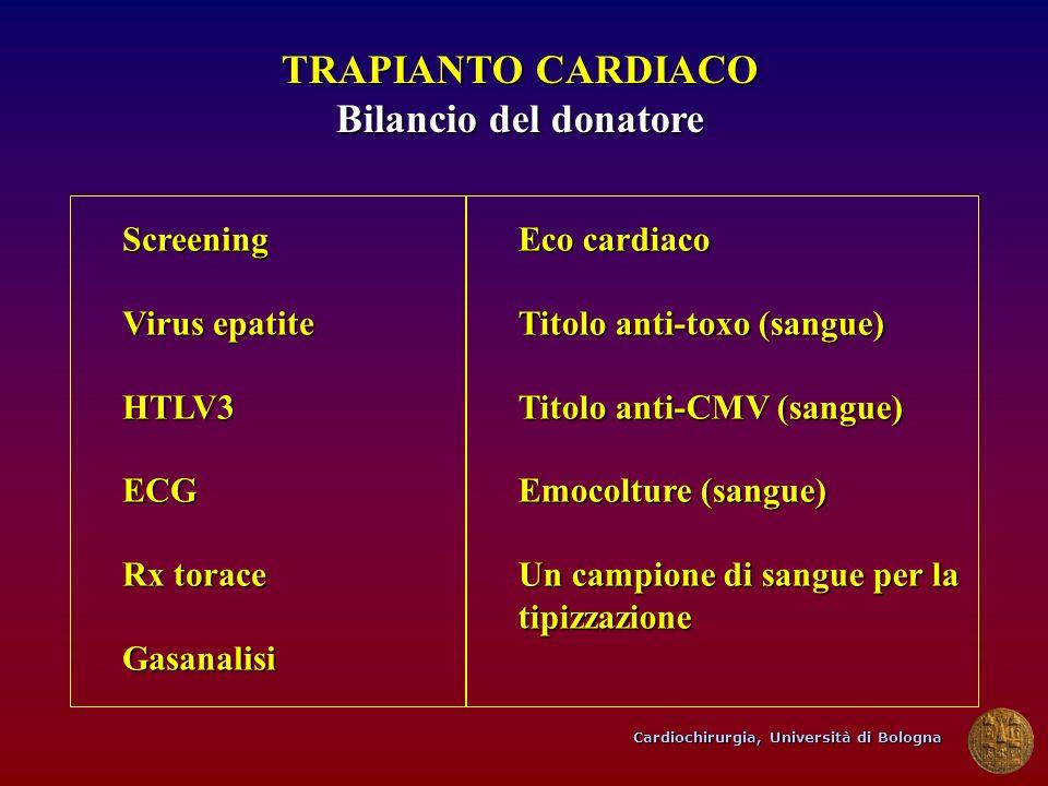 TRAPIANTO CARDIACO Bilancio del donatore