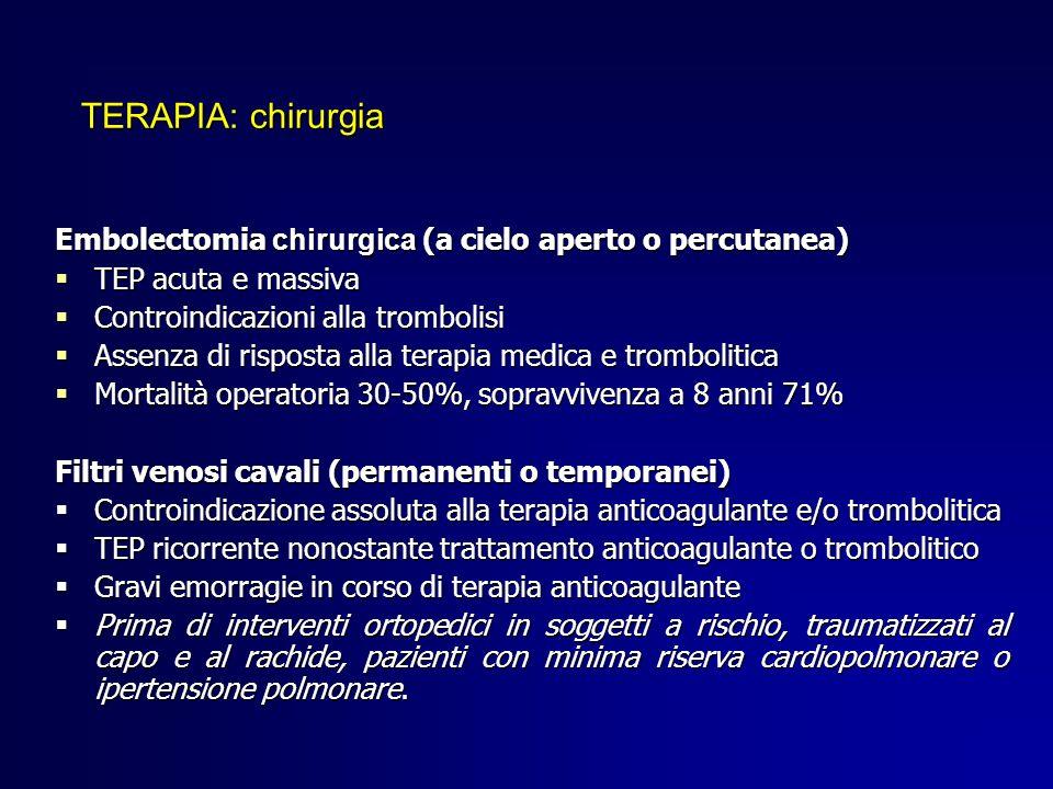 TERAPIA: chirurgia Embolectomia chirurgica (a cielo aperto o percutanea) TEP acuta e massiva. Controindicazioni alla trombolisi.