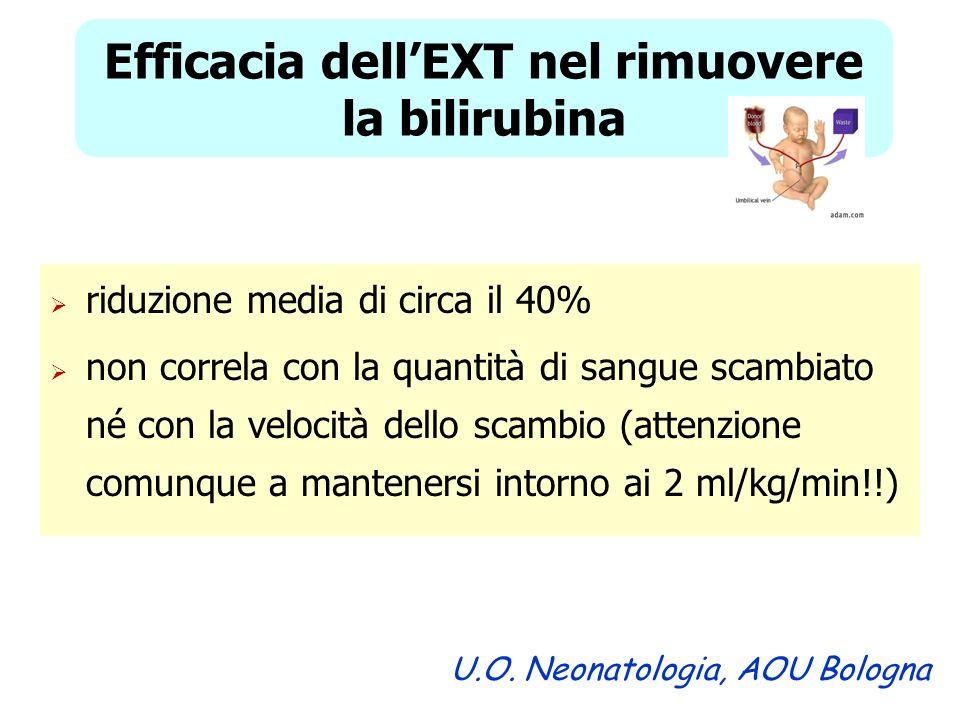 Efficacia dell'EXT nel rimuovere la bilirubina