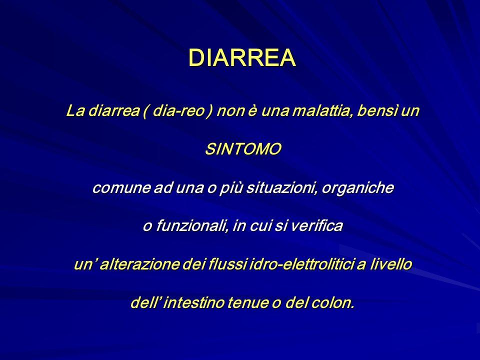 DIARREA La diarrea ( dia-reo ) non è una malattia, bensì un SINTOMO