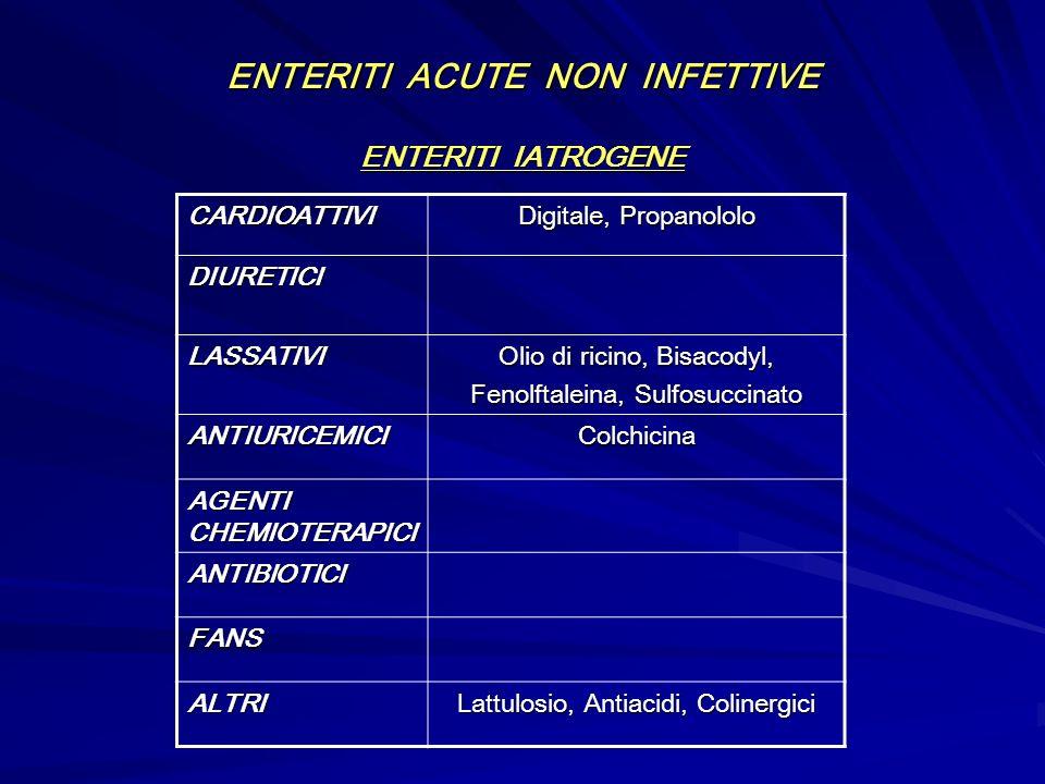 ENTERITI ACUTE NON INFETTIVE ENTERITI IATROGENE