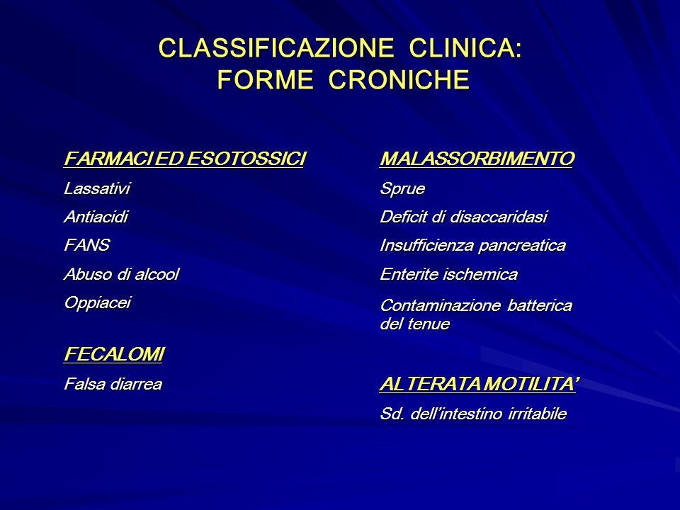 CLASSIFICAZIONE CLINICA: FORME CRONICHE