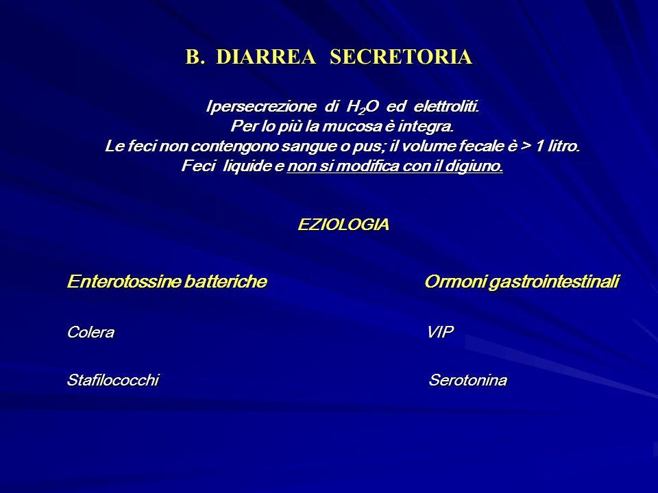 B. DIARREA SECRETORIA Ipersecrezione di H2O ed elettroliti. Per lo più la mucosa è integra.