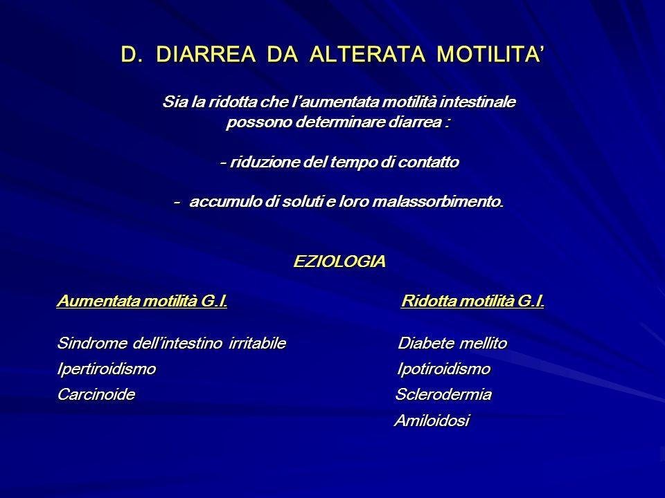 D. DIARREA DA ALTERATA MOTILITA'