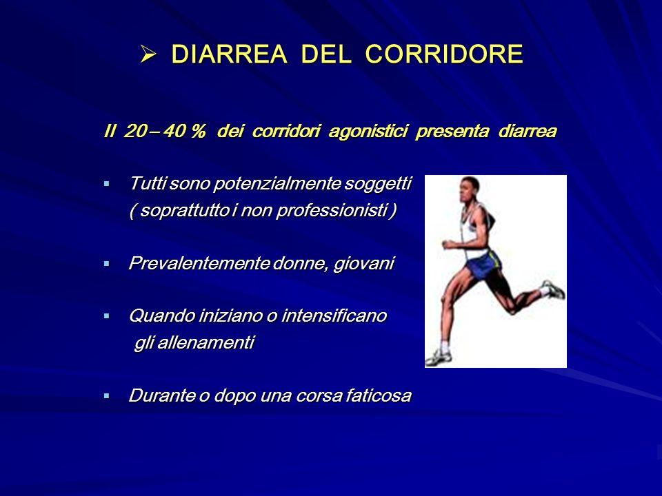 DIARREA DEL CORRIDORE Il 20 – 40 % dei corridori agonistici presenta diarrea. Tutti sono potenzialmente soggetti.