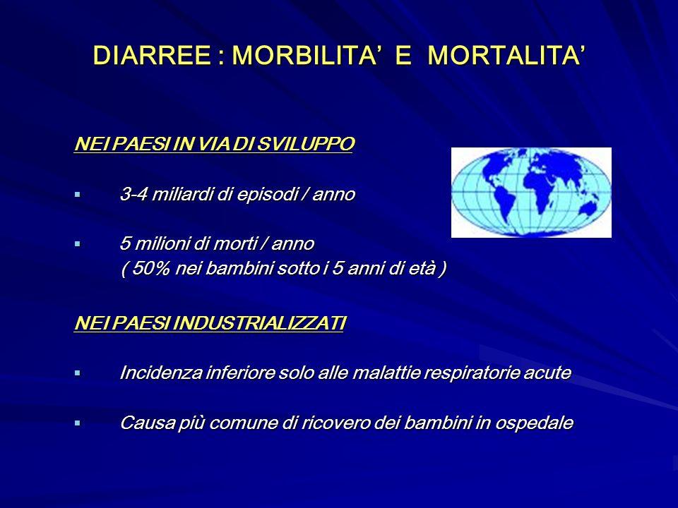 DIARREE : MORBILITA' E MORTALITA'