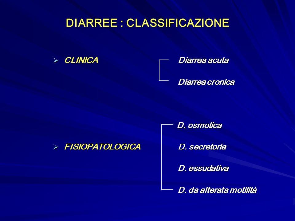 DIARREE : CLASSIFICAZIONE