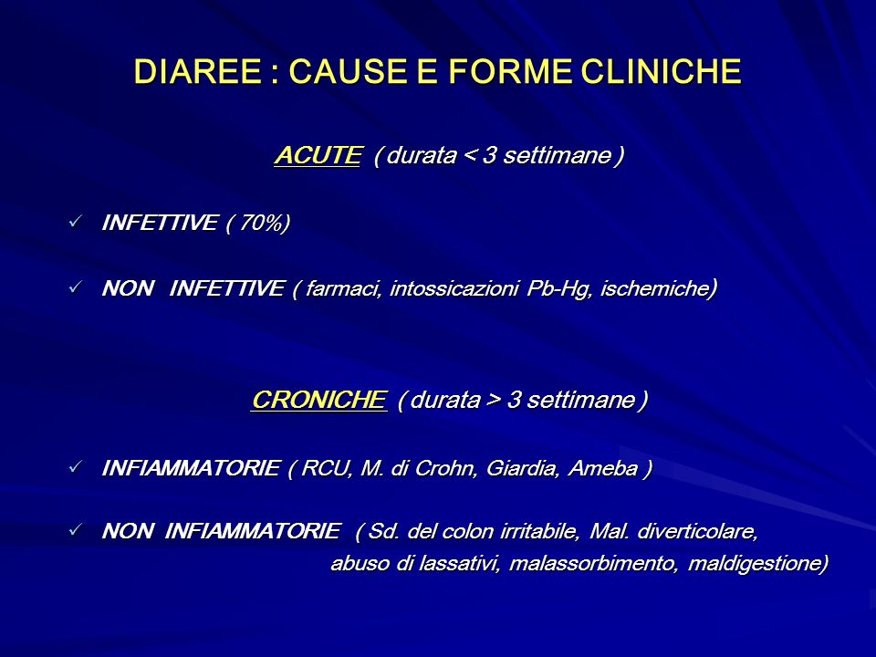DIAREE : CAUSE E FORME CLINICHE