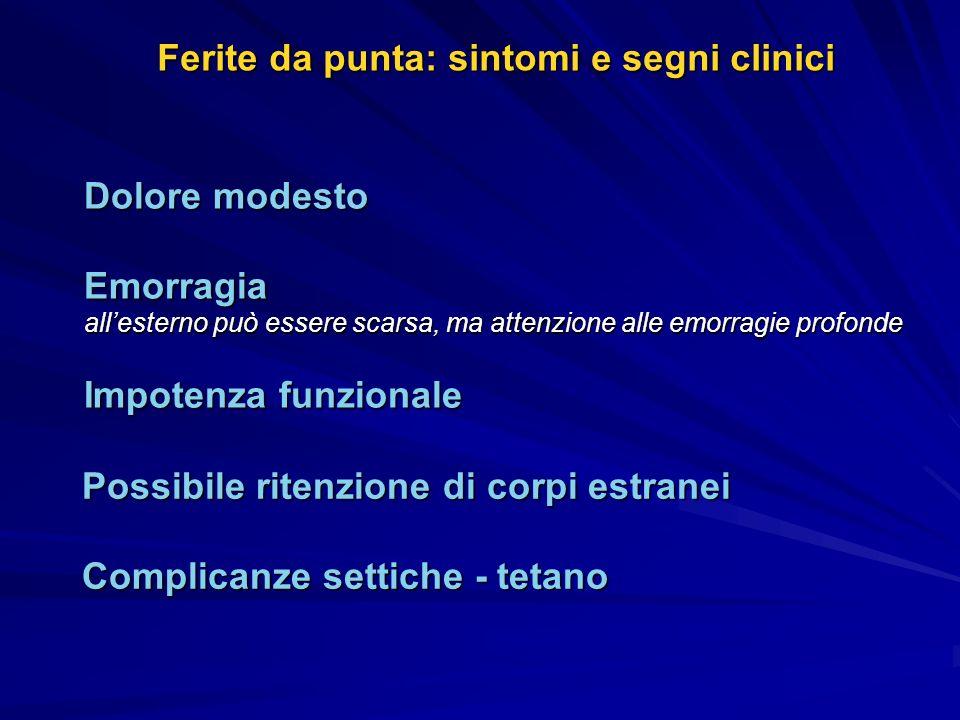 Ferite da punta: sintomi e segni clinici