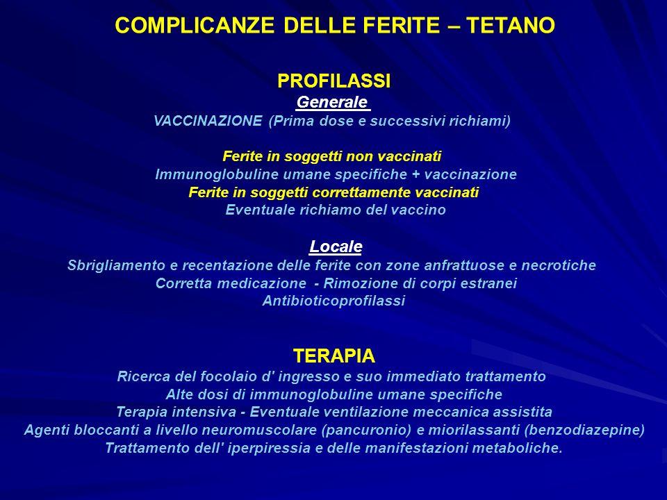 COMPLICANZE DELLE FERITE – TETANO