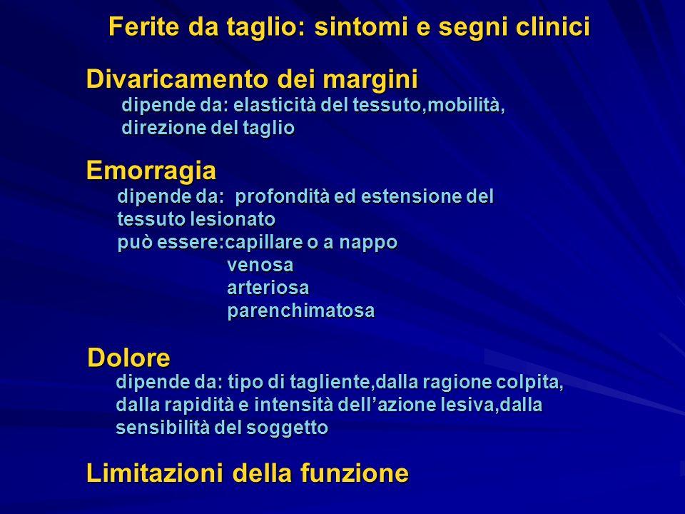 Ferite da taglio: sintomi e segni clinici