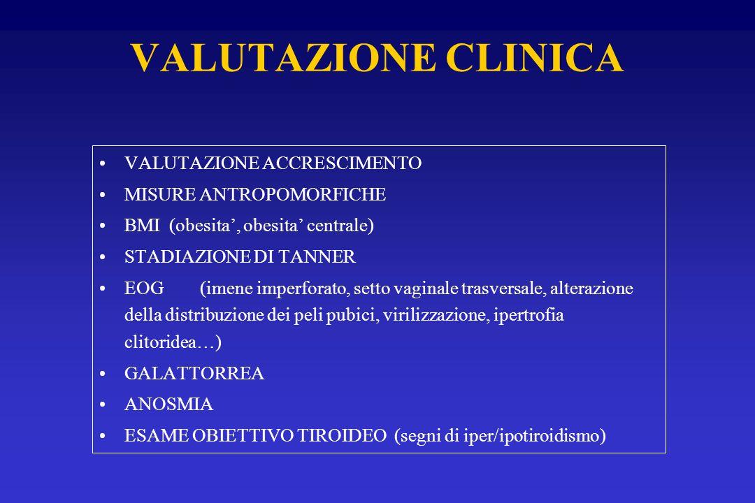 VALUTAZIONE CLINICA VALUTAZIONE ACCRESCIMENTO MISURE ANTROPOMORFICHE