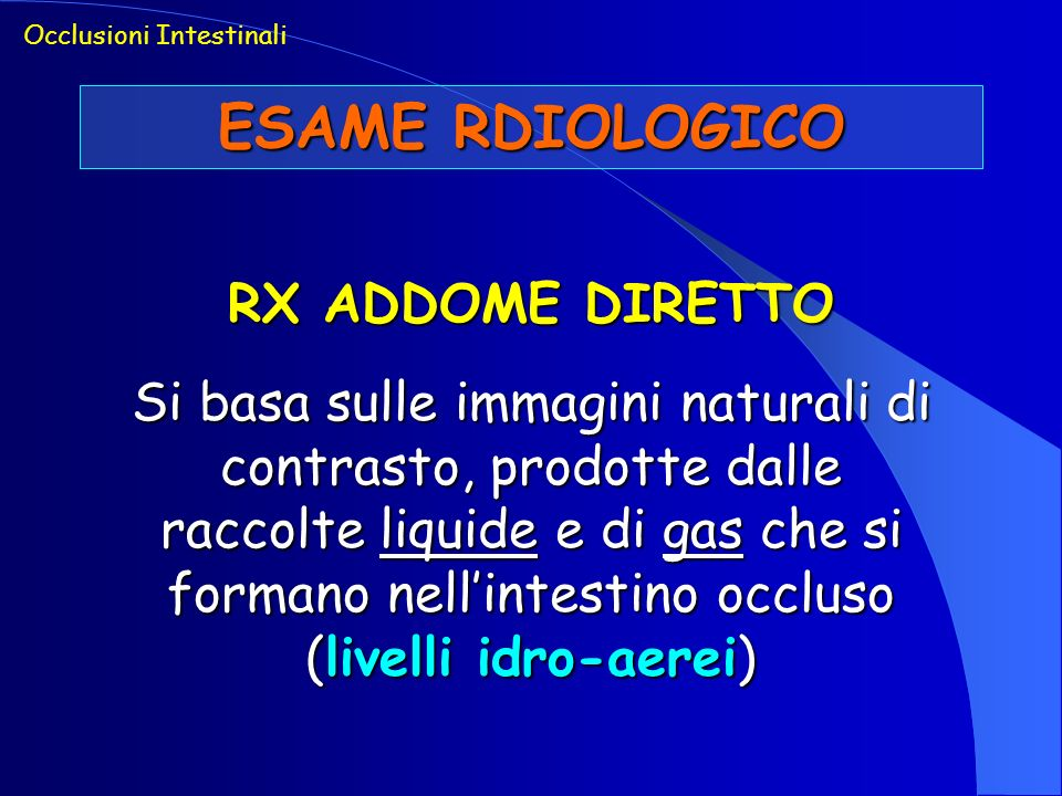 ESAME RDIOLOGICO RX ADDOME DIRETTO