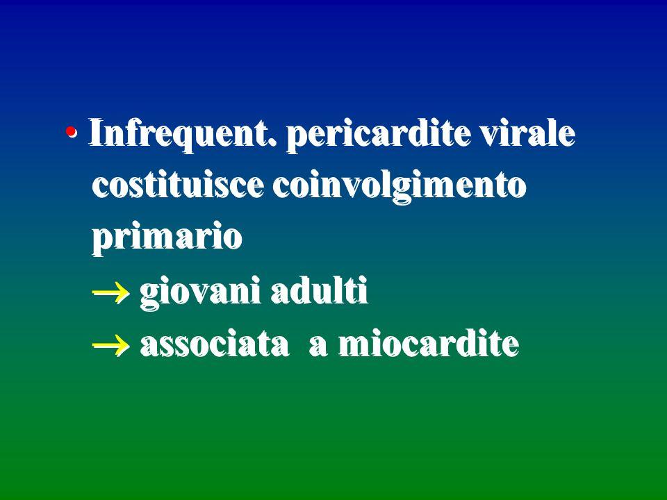 Infrequent. pericardite virale costituisce coinvolgimento primario