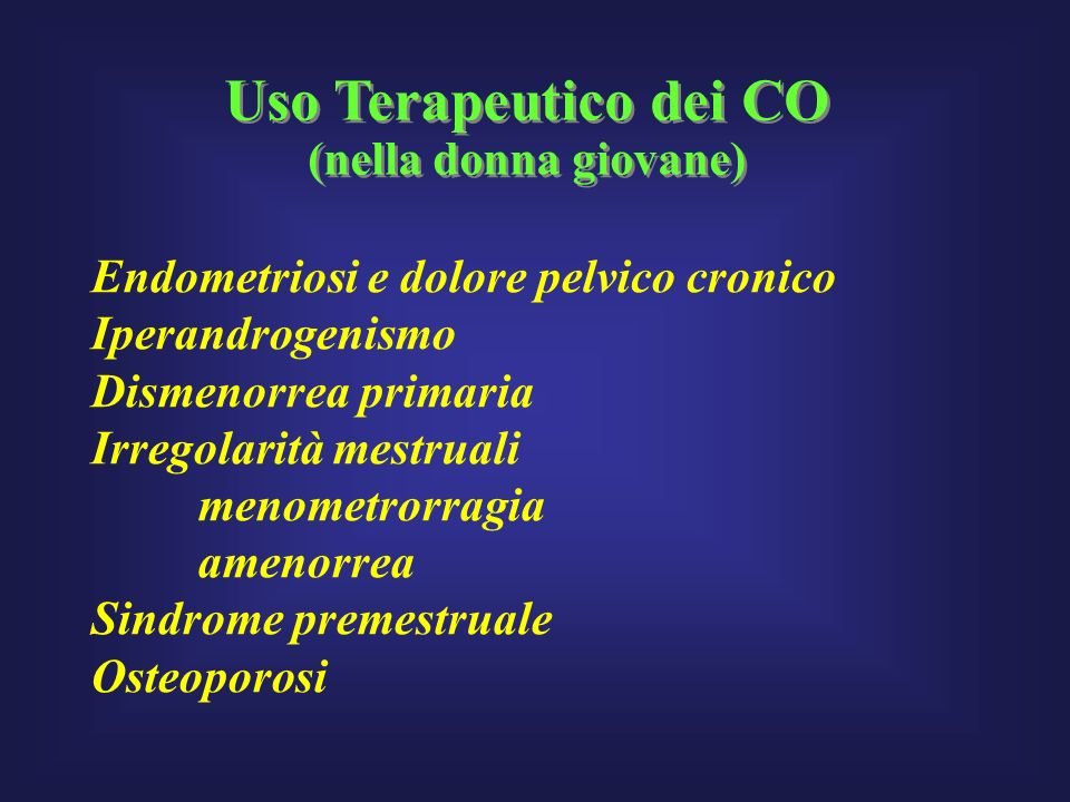 Uso Terapeutico dei CO (nella donna giovane)