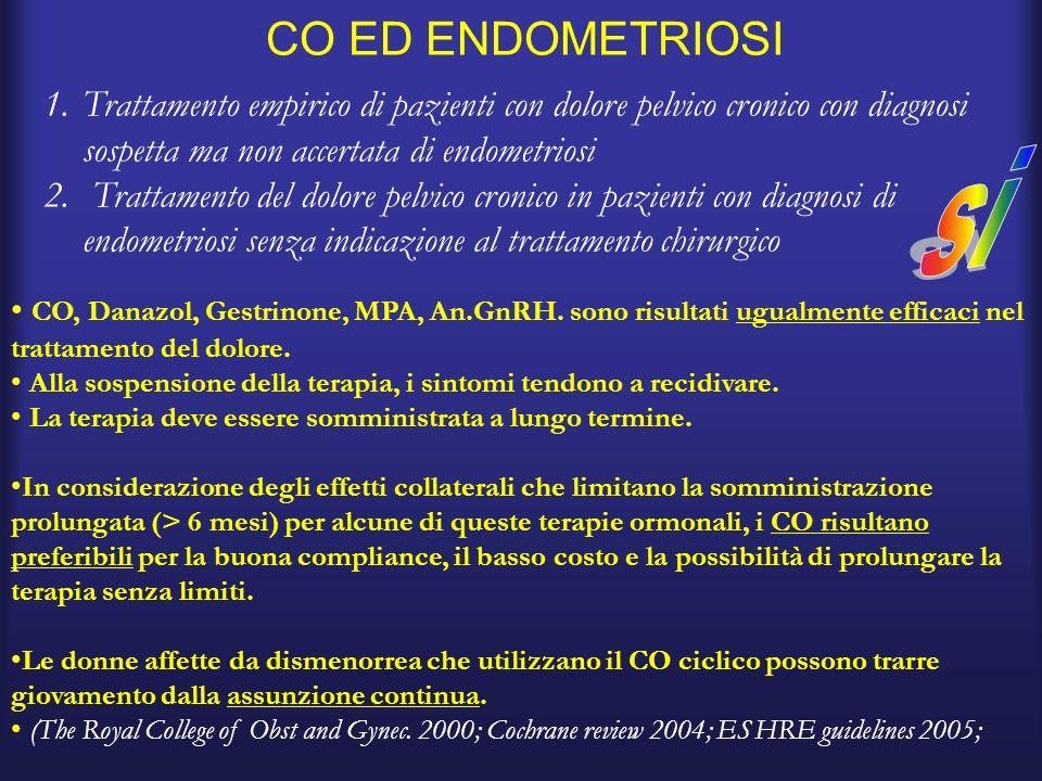 CO ED ENDOMETRIOSI Trattamento empirico di pazienti con dolore pelvico cronico con diagnosi sospetta ma non accertata di endometriosi.