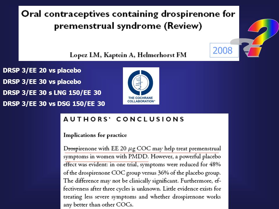 2008 DRSP 3/EE 20 vs placebo DRSP 3/EE 30 vs placebo