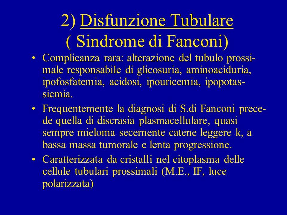 2) Disfunzione Tubulare ( Sindrome di Fanconi)