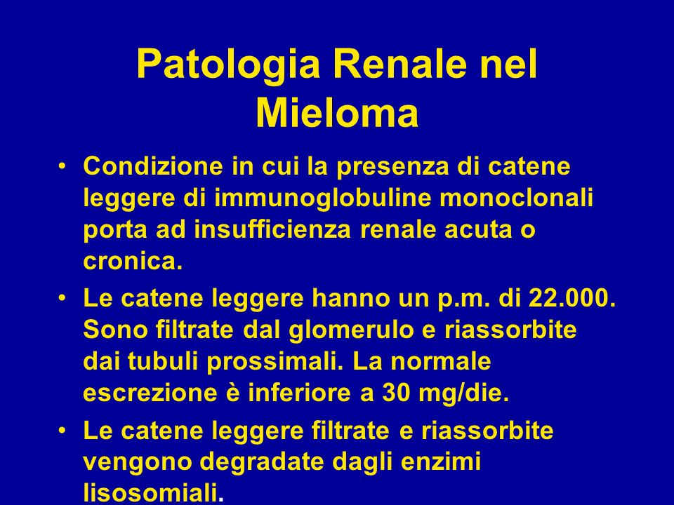 Patologia Renale nel Mieloma