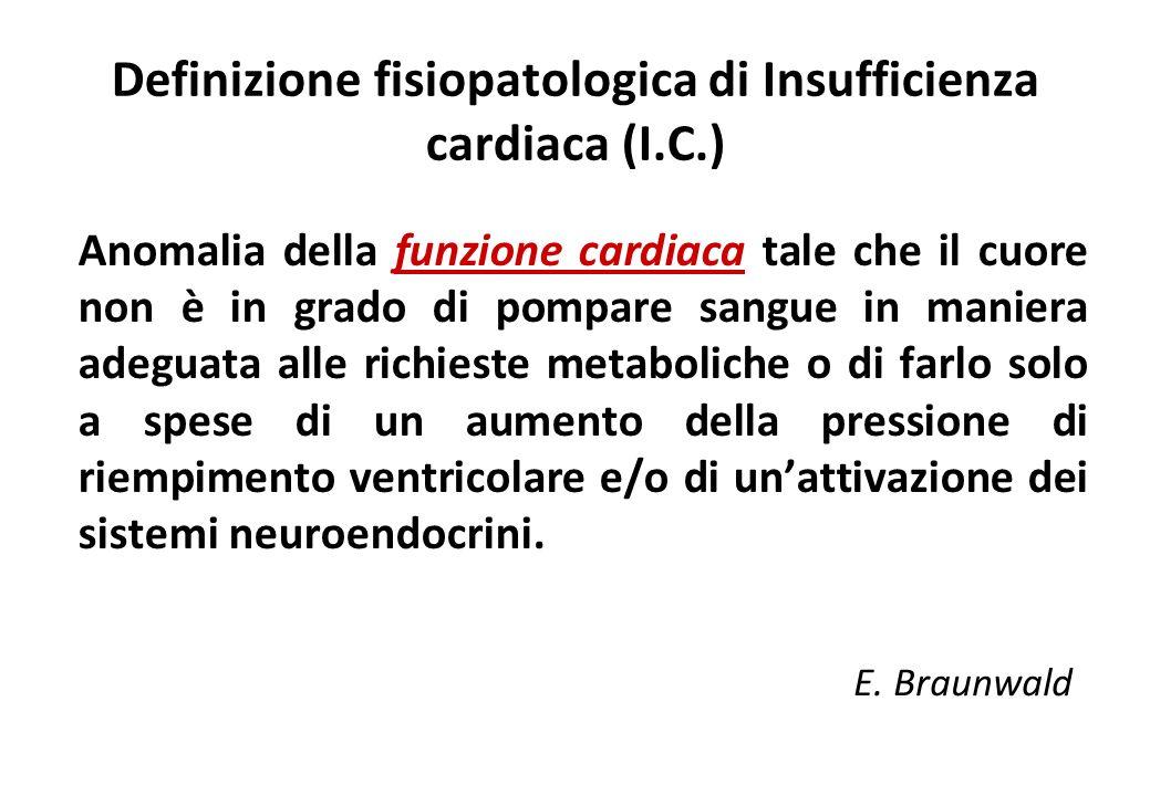 Definizione fisiopatologica di Insufficienza cardiaca (I.C.)