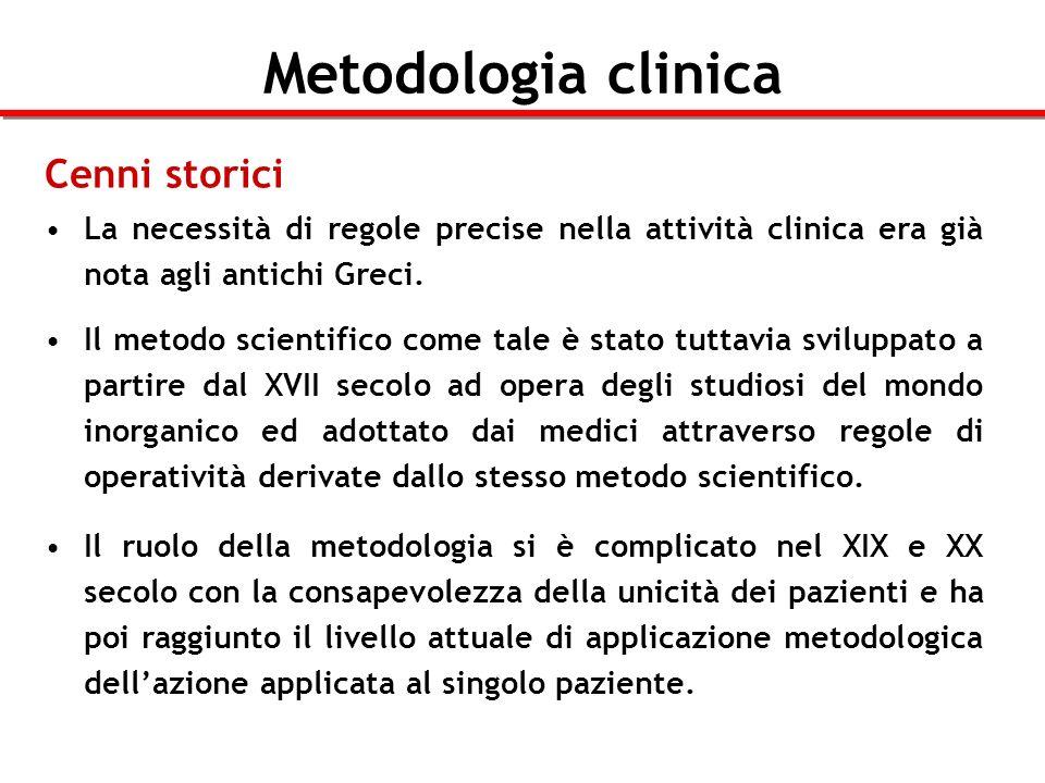 Metodologia clinica Cenni storici