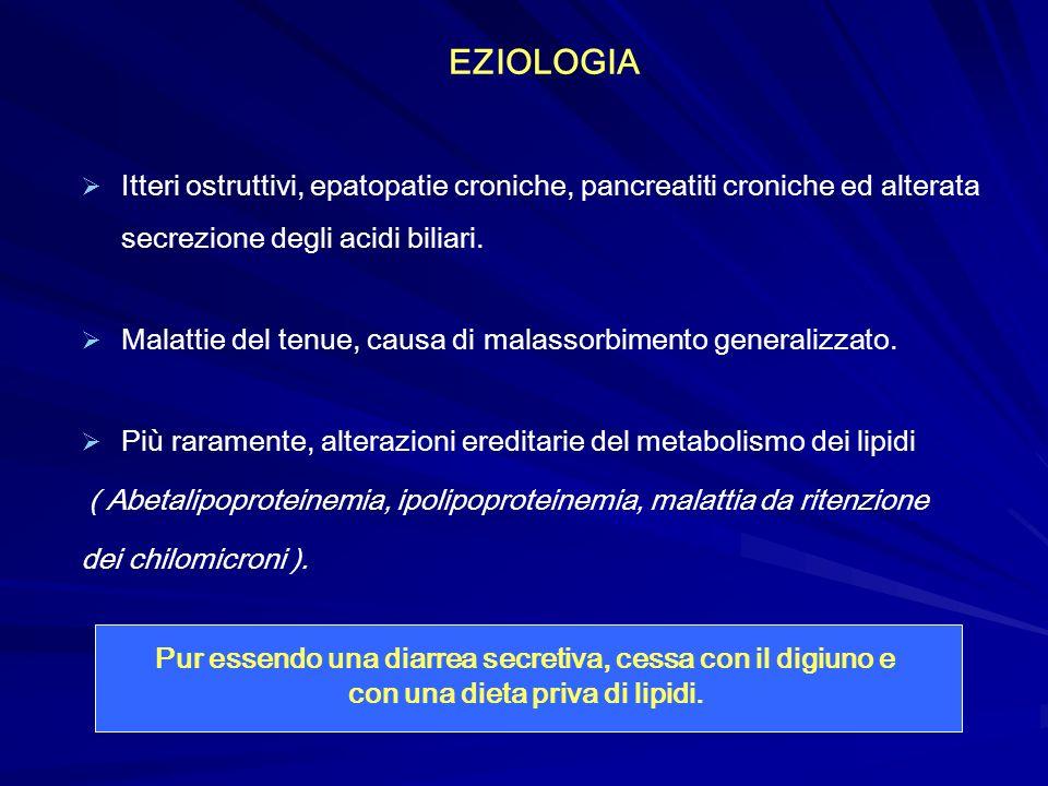 EZIOLOGIA Itteri ostruttivi, epatopatie croniche, pancreatiti croniche ed alterata secrezione degli acidi biliari.