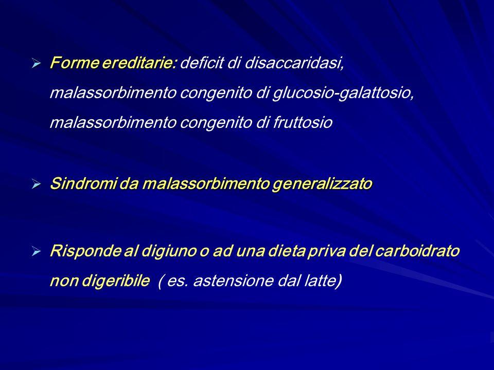 Forme ereditarie: deficit di disaccaridasi, malassorbimento congenito di glucosio-galattosio, malassorbimento congenito di fruttosio