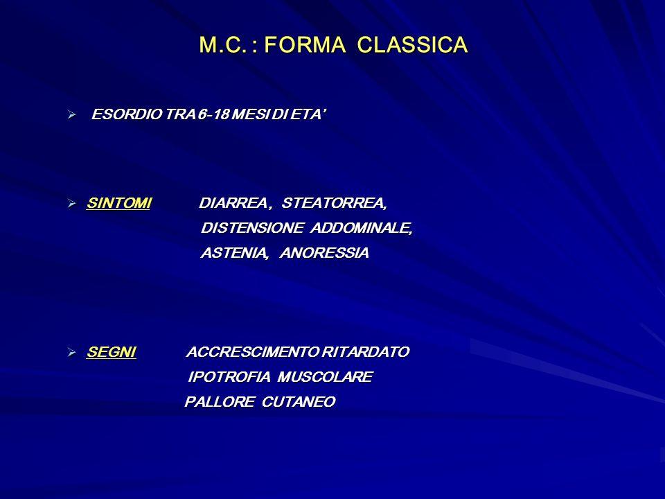 M.C. : FORMA CLASSICA ESORDIO TRA 6-18 MESI DI ETA'