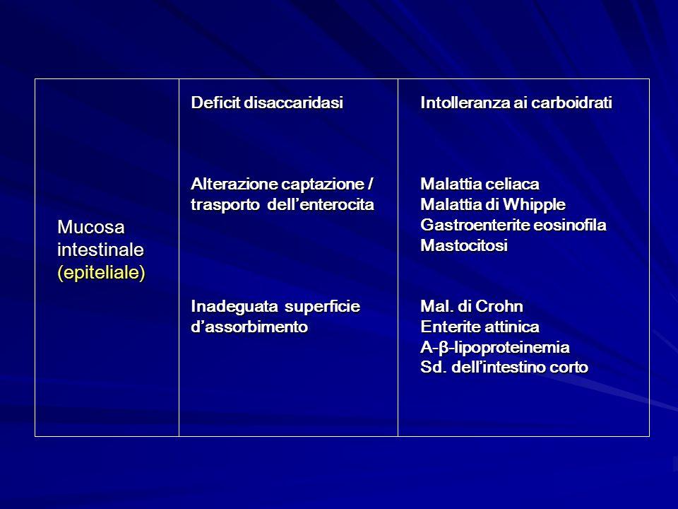 Mucosa intestinale (epiteliale) Deficit disaccaridasi