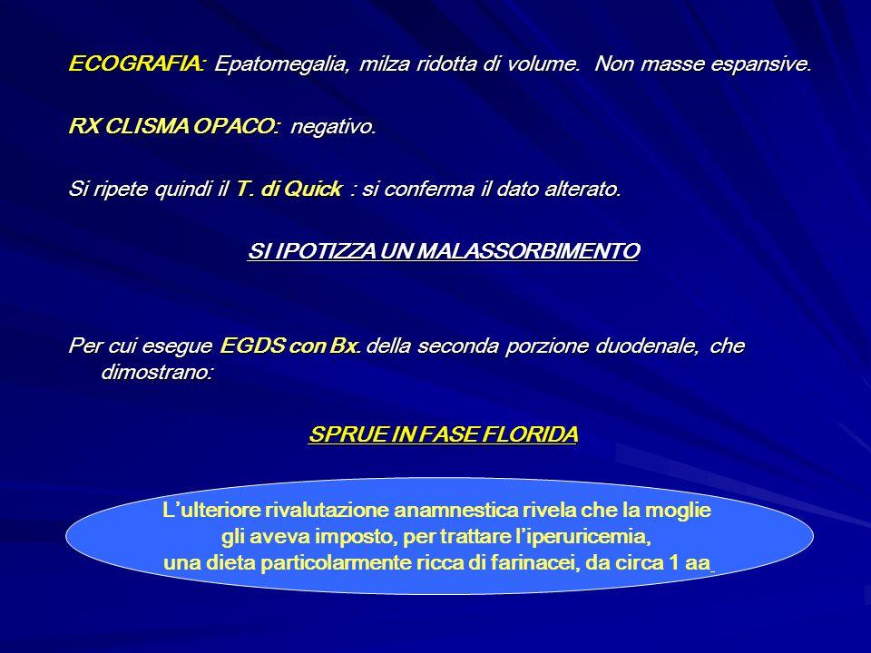 ECOGRAFIA: Epatomegalia, milza ridotta di volume. Non masse espansive.