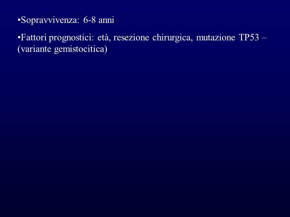 Sopravvivenza: 6-8 anniFattori prognostici: età, resezione chirurgica, mutazione TP53 – (variante gemistocitica)