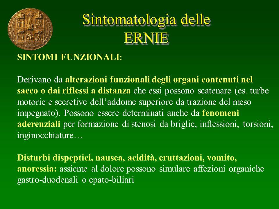 Sintomatologia delle ERNIE SINTOMI FUNZIONALI: