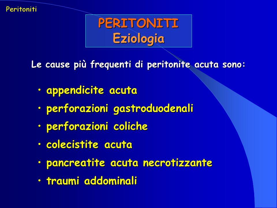 Le cause più frequenti di peritonite acuta sono:
