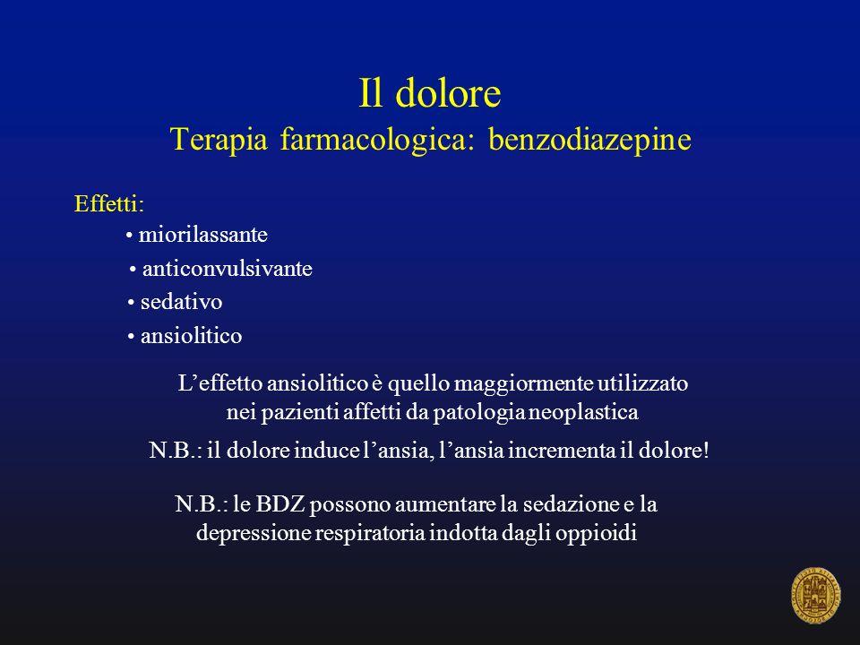 Il dolore Terapia farmacologica: benzodiazepine