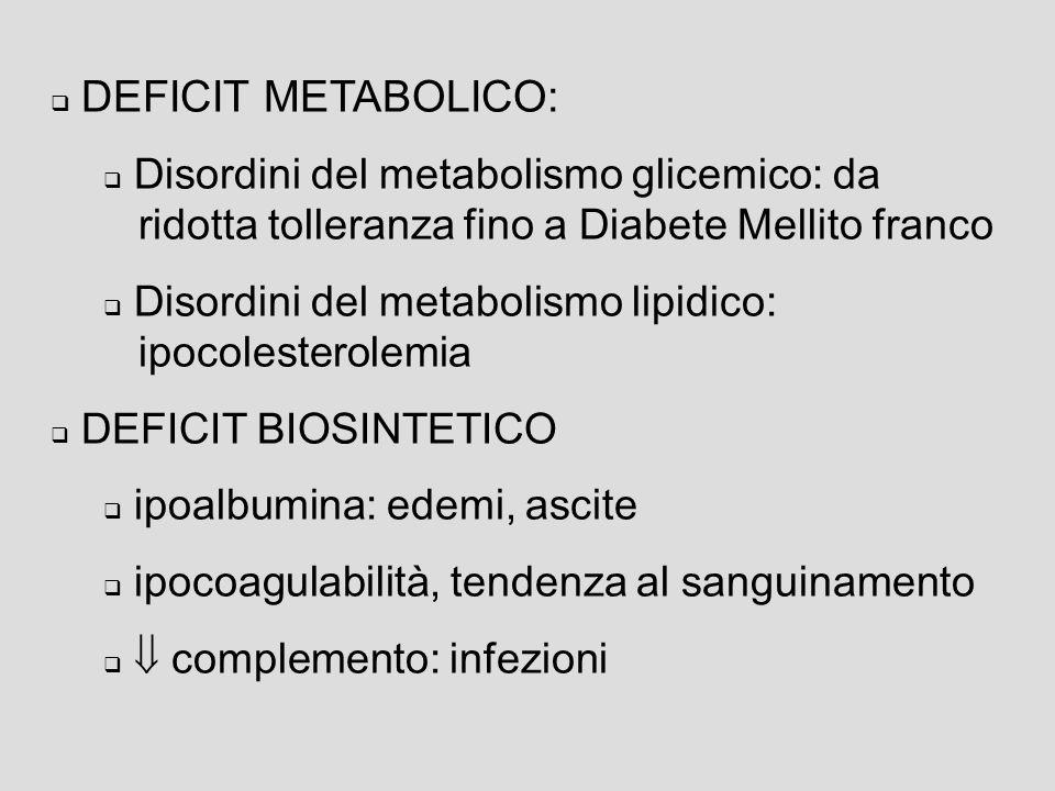 DEFICIT METABOLICO: Disordini del metabolismo glicemico: da ridotta tolleranza fino a Diabete Mellito franco.