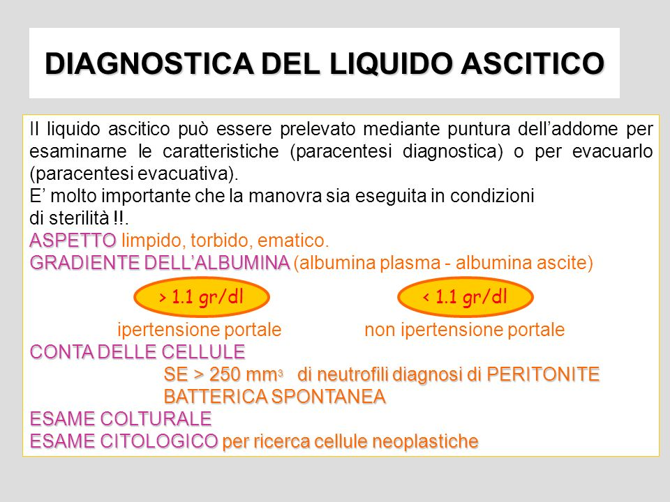 DIAGNOSTICA DEL LIQUIDO ASCITICO