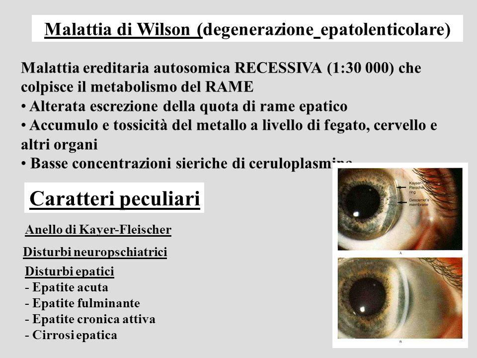 Malattia di Wilson (degenerazione epatolenticolare)