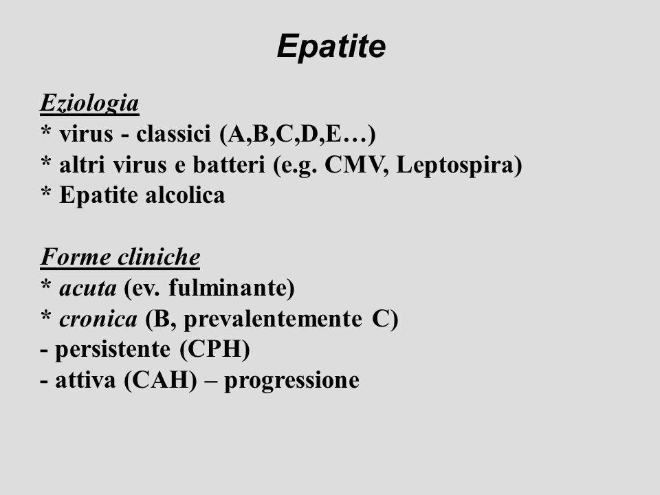 Epatite Eziologia * virus - classici (A,B,C,D,E…)