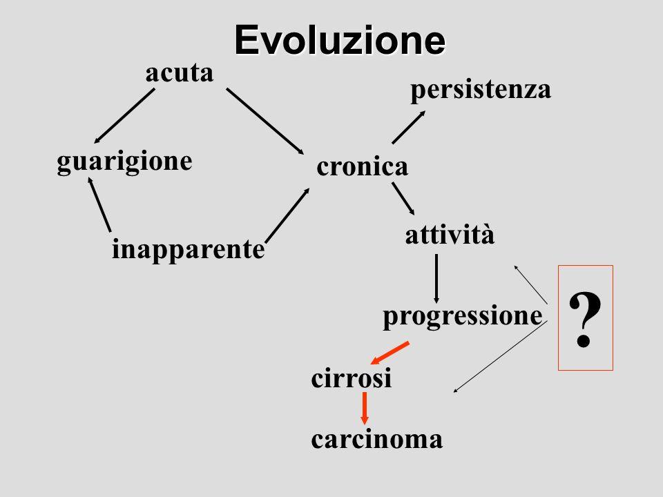 Evoluzione acuta persistenza guarigione cronica attività inapparente