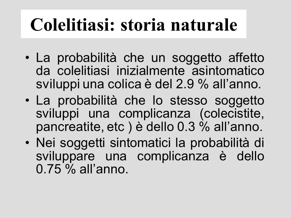 Colelitiasi: storia naturale